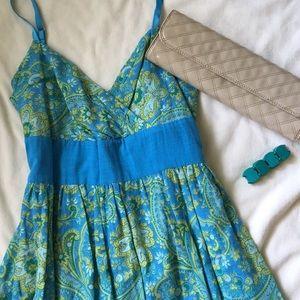 [ Derek Heart Blue & Green Paisley Sundress] L